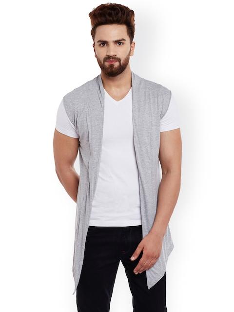 CHILL WINSTON Men Grey Solid Open Front Sleeveless Jacket