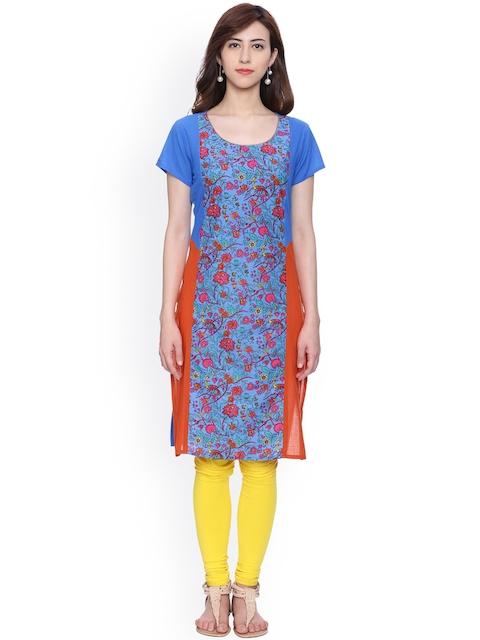 Evam Women Blue Printed Straight Kurta