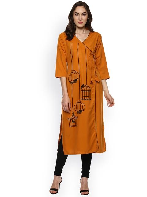 Bhama Couture Women Mustard Yellow Printed Straight Angrakha Kurta