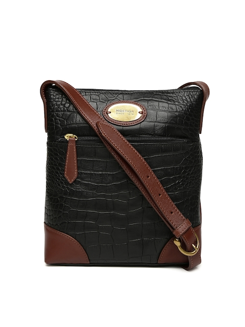 Hidesign Black Textured Leather Sling Bag