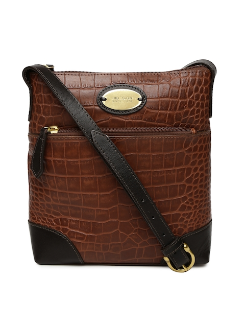 Hidesign Brown Textured Sling Bag