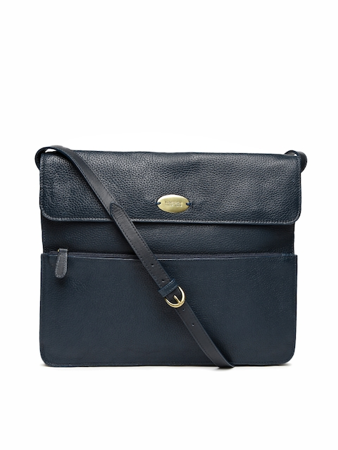 Hidesign Navy Blue Solid Sling Bag