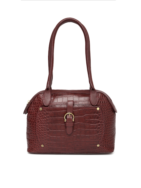 Hidesign Maroon Textured Shoulder Bag