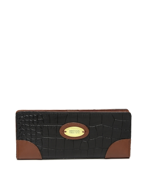 Hidesign Women Black Textured Two Fold Wallet