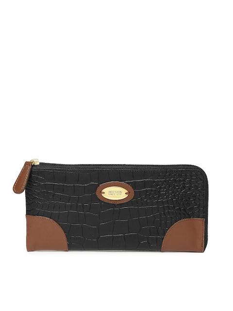 Hidesign Women Black Textured Zip Around Wallet