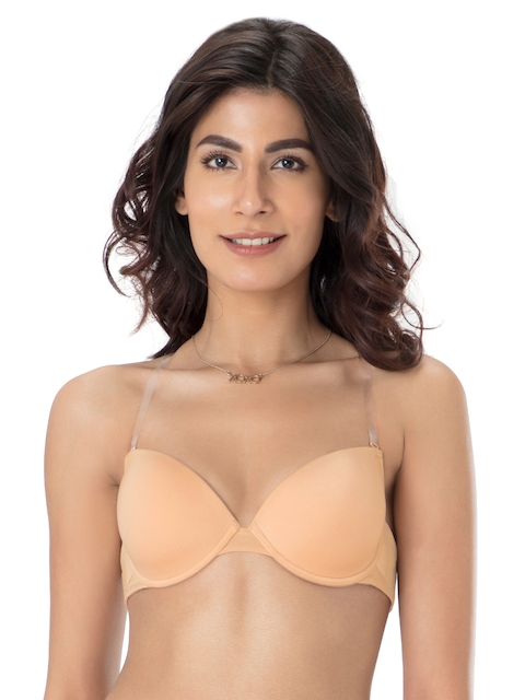 PrettySecrets Nude-Coloured Solid Underwired Lightly Padded Everyday Backless Bra B0015