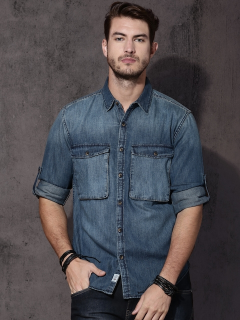 Roadster Men Blue Regular Fit Solid Denim Casual Shirt