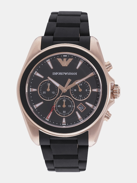 Emporio Armani Men Charcoal Grey Analogue Watch AR6066I