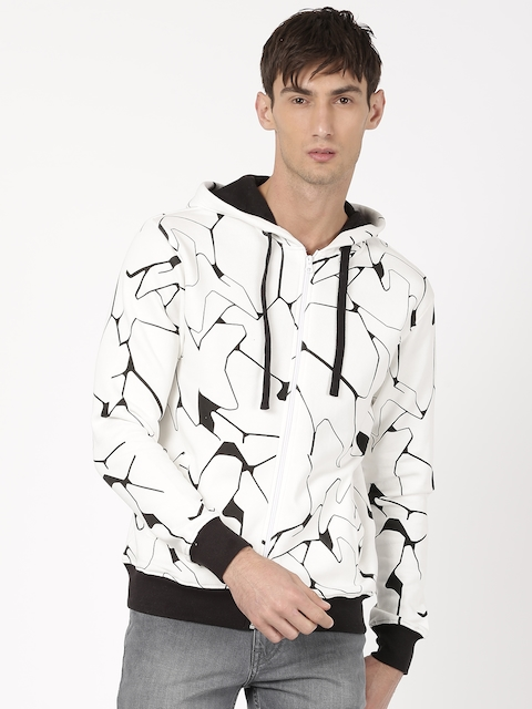 ether Men White & Black Printed Hooded Sweatshirt