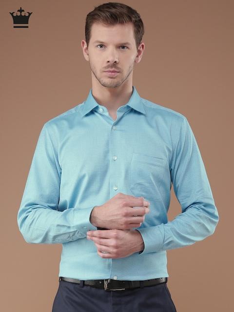 Louis Philippe Men Blue Regular Fit Self Design Formal Shirt