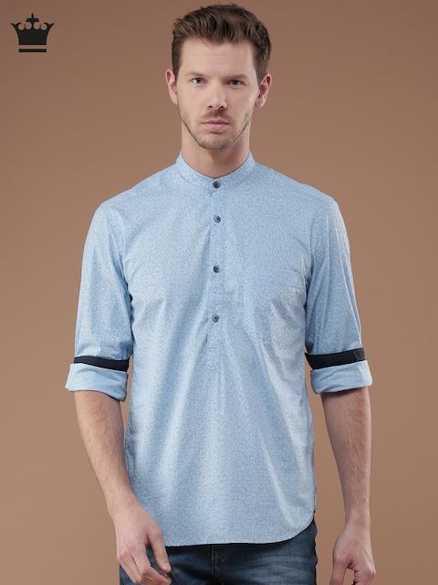 Louis Philippe Men Blue Printed Slim Fit Casual Shirt