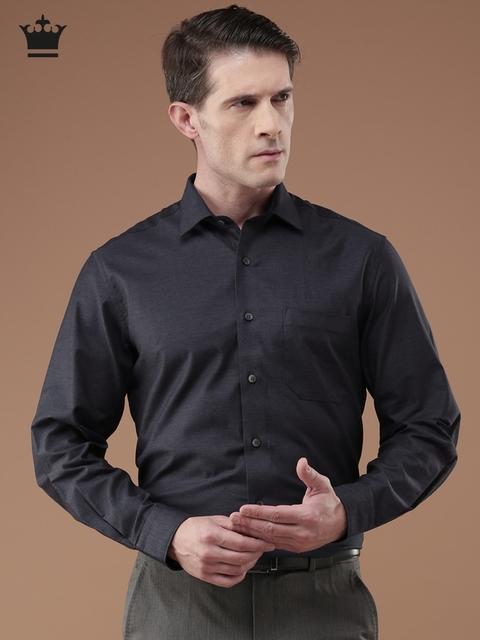 Louis Philippe Men Navy Blue Milano Slim Fit Self Design Formal Shirt
