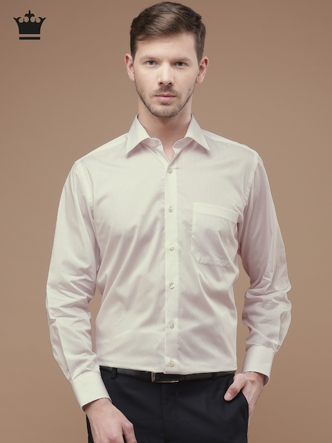 Louis Philippe Men Off-White & Red Printed Classic Fit Formal Shirt