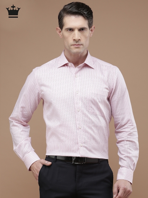 Louis Philippe Men Pink Regular Fit Striped Formal Shirt
