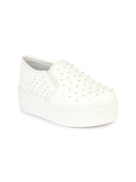 Shoetopia Women White Embellished Flatform Slip-On Sneakers