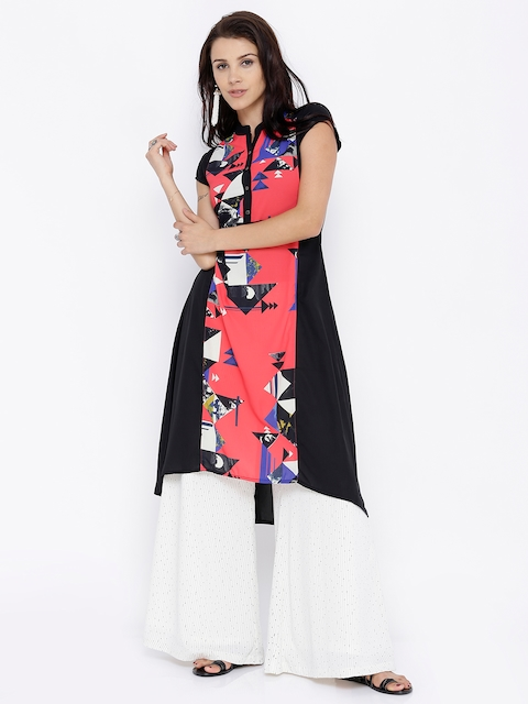 Vishudh Women Black & Coral Pink Printed A-Line High-Low Kurta  available at myntra for Rs.399