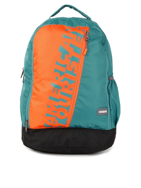AMERICAN TOURISTER Unisex Teal & Orange Colourblocked Backpack