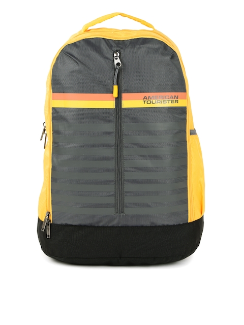 AMERICAN TOURISTER Unisex Yellow & Grey Backpack