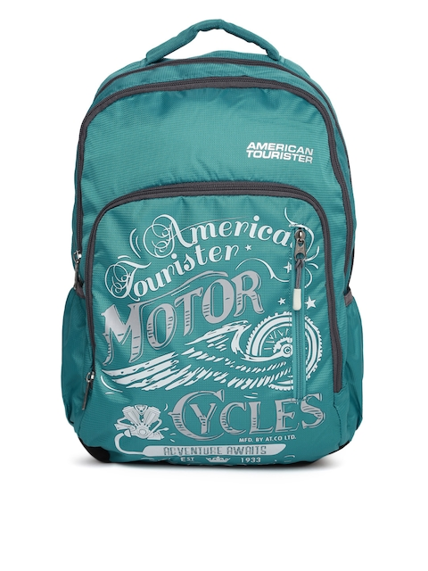 AMERICAN TOURISTER Unisex Teal Blue AMT BOOM Graphic Backpack