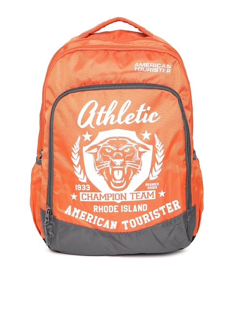 AMERICAN TOURISTER Unisex Orange Graphic Printed Backpack
