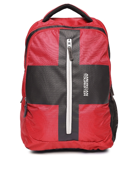 AMERICAN TOURISTER Unisex Red & Black Printed Backpack