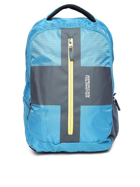 AMERICAN TOURISTER Unisex Teal Blue & Charcoal Grey Printed Backpack