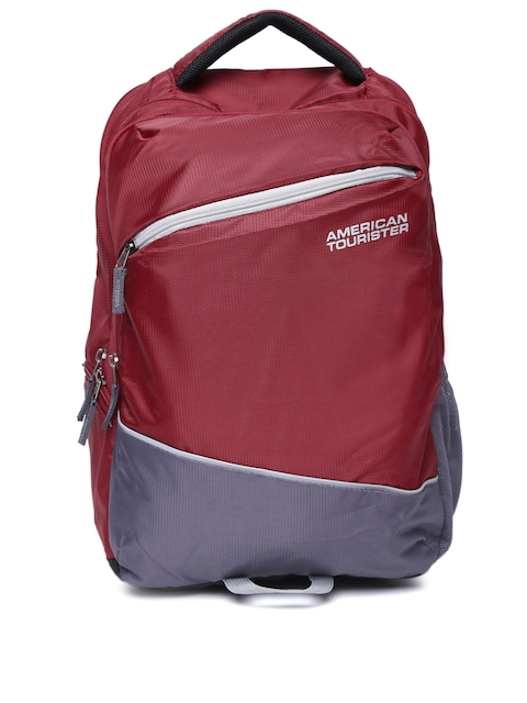 AMERICAN TOURISTER Unisex Maroon Solid Backpack