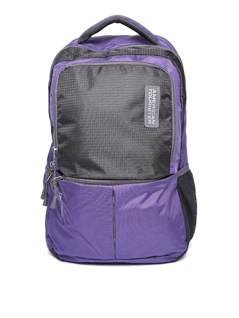 AMERICAN TOURISTER Unisex Purple & Black Colourblocked Backpack