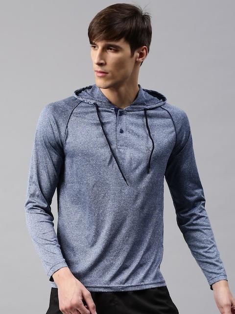 HRX by Hrithik Roshan Men Blue Solid Hood T-shirt