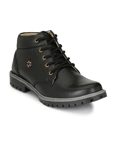 Sir Corbett Men Black Solid Mid-Top Boots