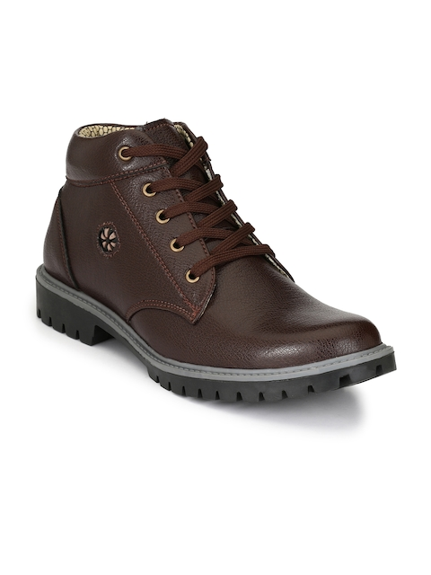 Sir Corbett Men Brown Solid Mid-Top Boots