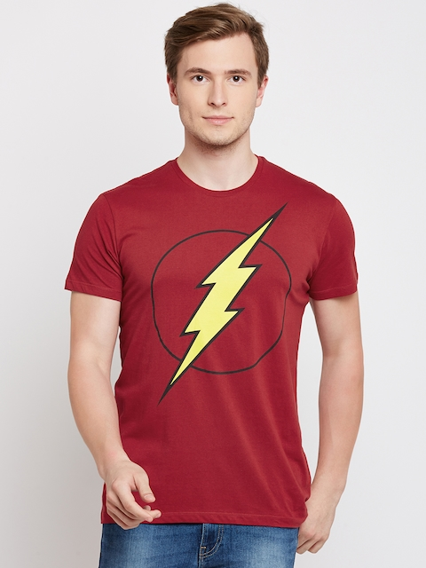 DC Comics Men Red Printed Round Neck T-shirt