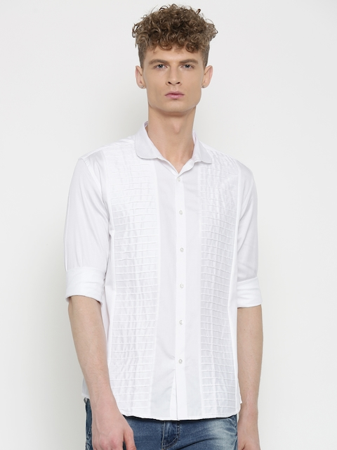 British Club Men White Regular Fit Solid Casual Shirt