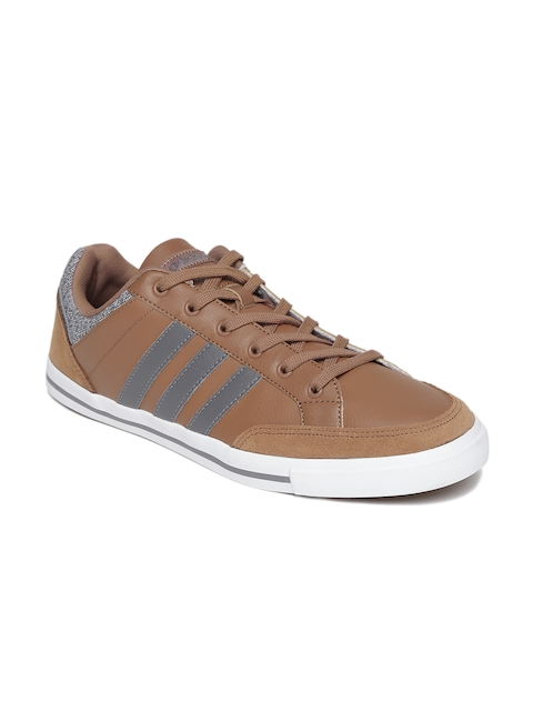 Adidas NEO Men Brown Cacity Leather Sneakers