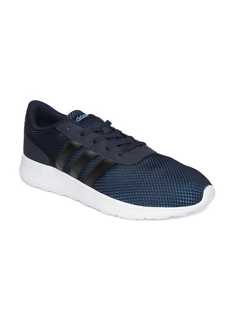 Adidas NEO Men Black & Blue Lite Race Mesh Sneakers