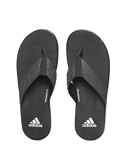 Adidas Men Black Beachcloud CF Y Textured Flip-Flops