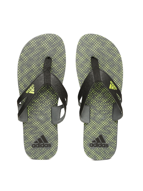 ADIDAS Men Black & Green OZOR II Printed Flip-Flops