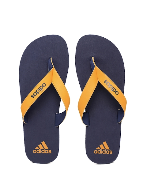 ADIDAS Men Mustard Yellow & Navy Puka Flip-Flops