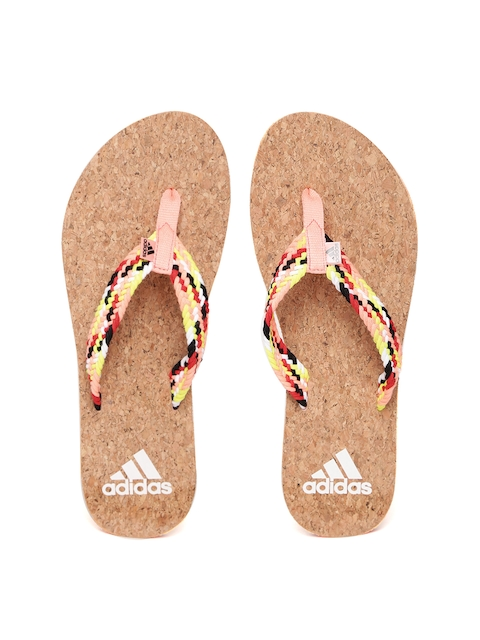 Adidas Women Peach-Coloured & Brown Beach Cork Thong Flip-Flops