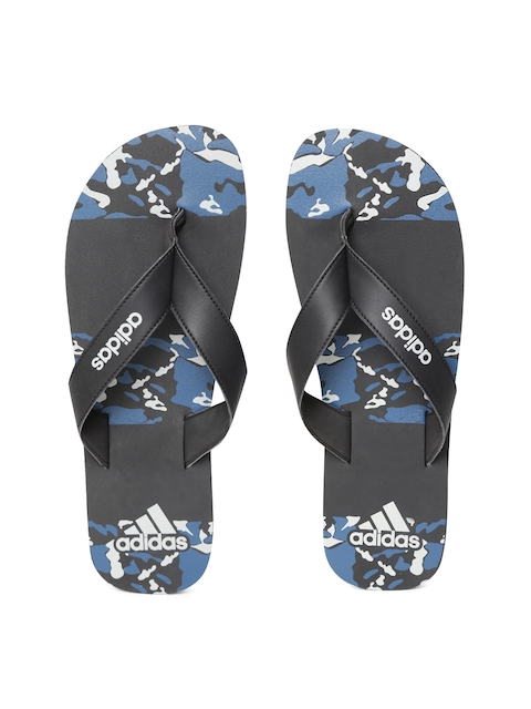 ADIDAS Men Black & Blue Laken Printed Thong Flip-Flops
