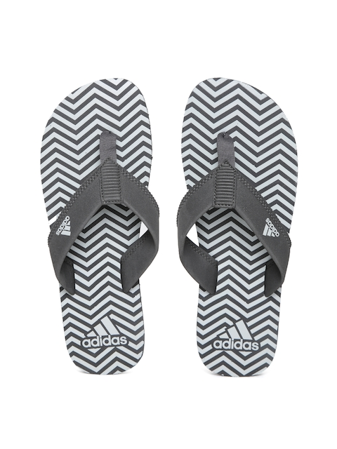 ADIDAS Men Grey & Off-White Inert Chevron Print Flip-Flops