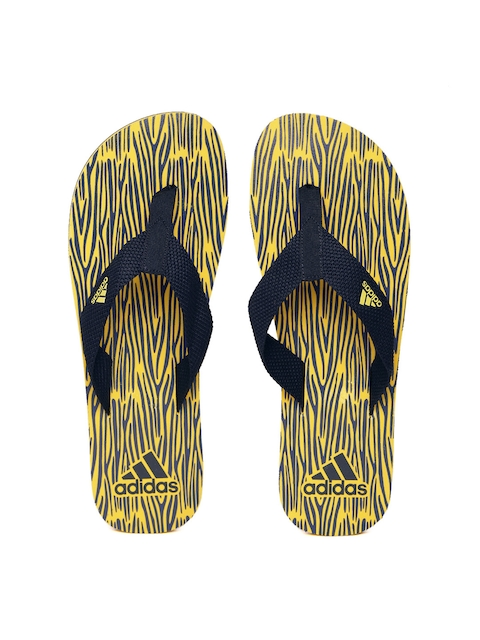 ADIDAS Men Navy & Yellow Aril Attack 2017 Printed Flip-Flops