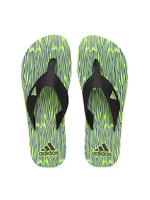 Adidas Men Black & Green Aril Attack 2017 Printed Thong Flip-Flops