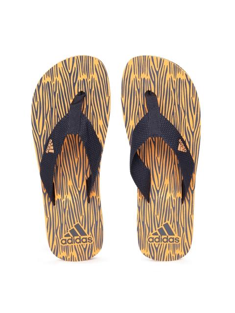 Adidas Men Navy  & Orange Aril Attack 2017 Printed Thong Flip-Flops