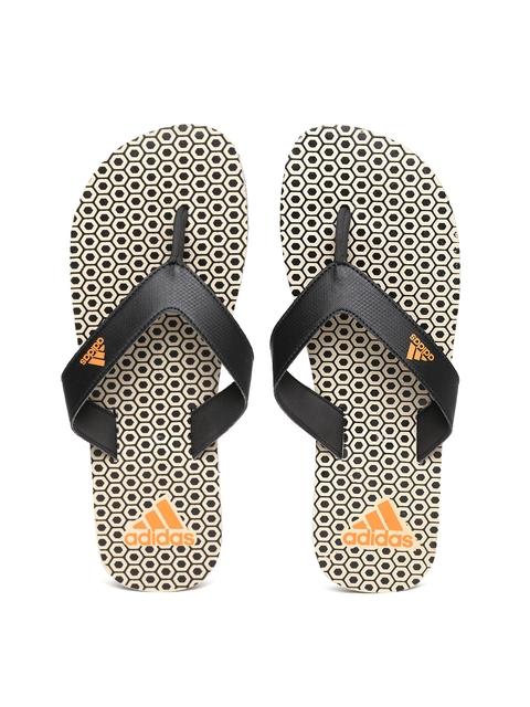 Adidas Men Black & Beige Beach Print Max Out Flip-Flops