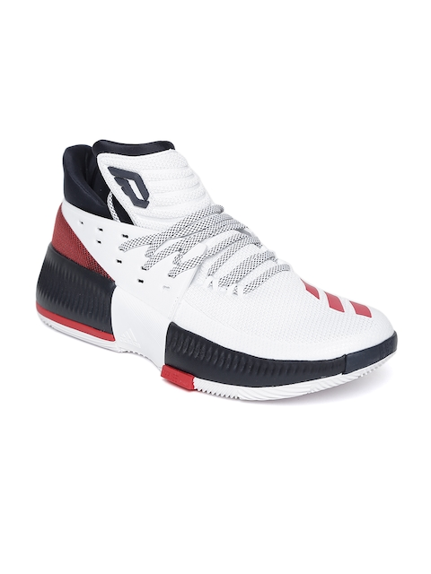 Adidas Men White Dame 3 Mid-Top Basketball Shoes