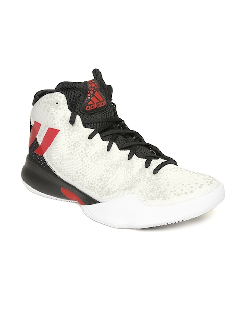 Adidas Men White & Black Mid-Top Basketball Shoes