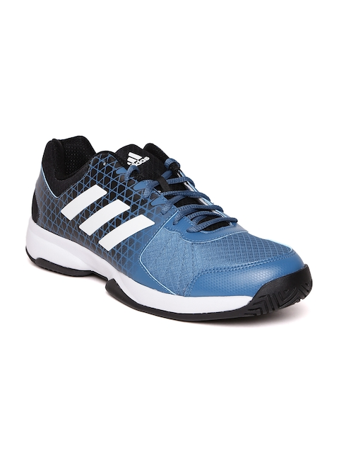 Adidas Men Blue & Black Net Nuts Indoor Tennis Shoes