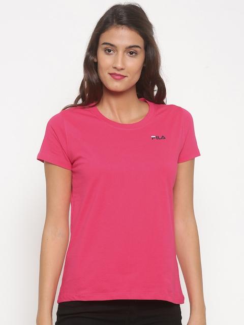FILA Women Pink Solid Round Neck T-shirt