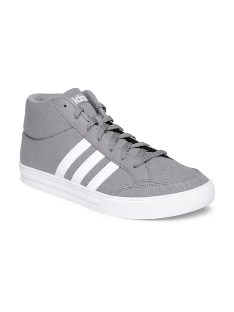 Adidas NEO Men Grey VS SET Solid Textile Mid-Top Sneakers  available at myntra for Rs.1999